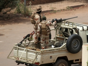 Malian troops stand guard outside Kati Barracks in Bamako, the headquarters of coup leader Amadou Sanogo