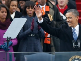 U.S. President Barack Obama prepares to speak after he took the oath of office during swearing-in ceremonies at the U.S. Capitol in Washington, January 21, 2013