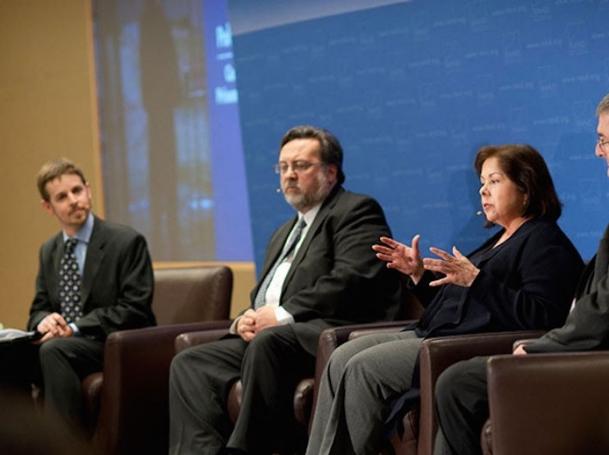Lois Davis speaking at a RAND Policy Forum on Calfornia's prisoner dilemma on January 24, 2012, with  Greg Ridgeway, J. Clark Kelso, and R. Steven Tharratt