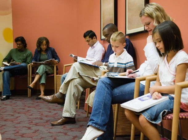 patients sitting in waiting room