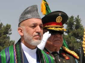 Afghan President Hamid Karzai and Gen. Abdul Rahim Wardak, former Minister of Defense