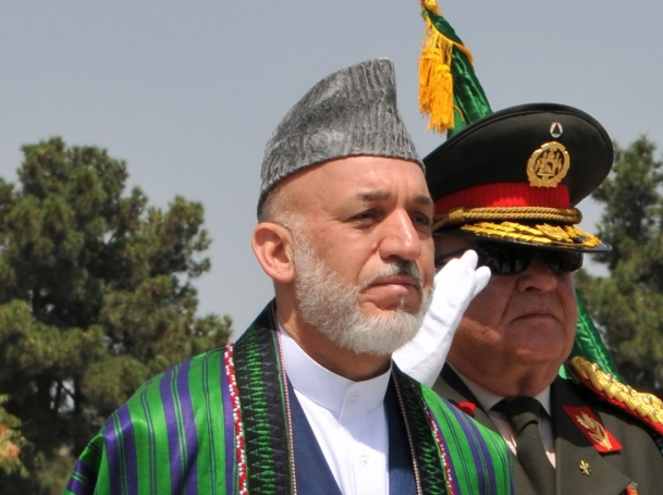Afghan President Hamid Karzai and Gen. Abdul Rahim Wardak, Minister of Defense, participate in the Afghanistan Independence Day celebration held at the Ministry of National Defense in Kabul.