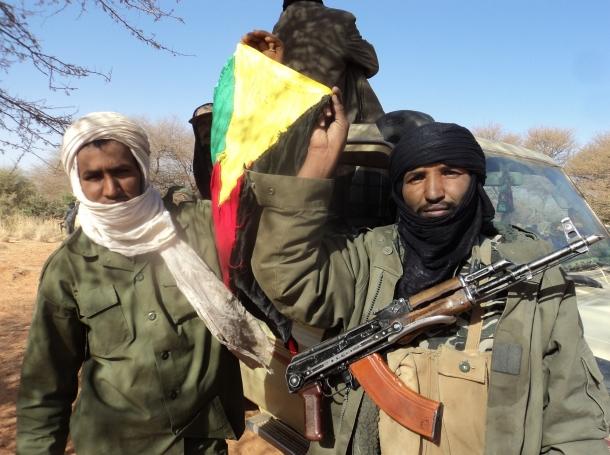 Touareg rebels in Mali hoist a flag