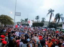 a huge demonstration marched to the federal palace to protest against the draft constitution and the constitutional decree announced by President Mohamed Morsi