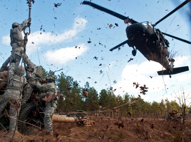 Paratroopers during air assault training