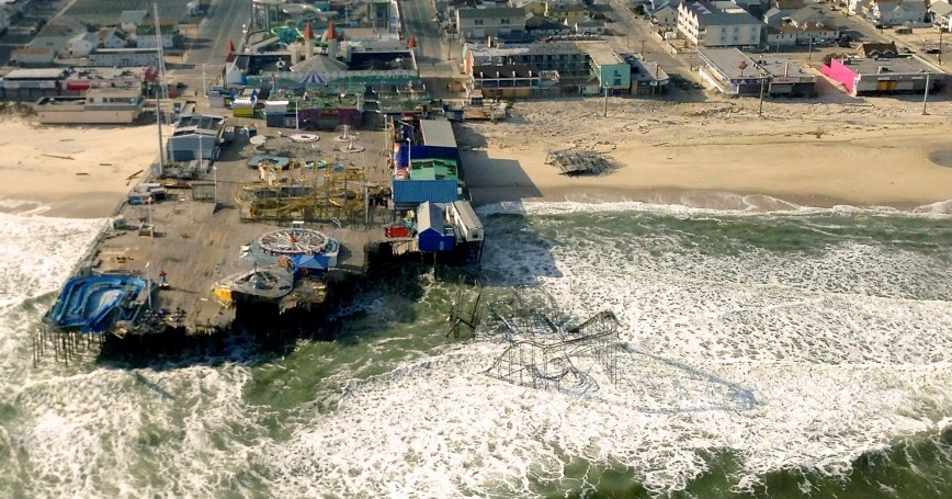 A pier devastated by Hurricane Sandy in New Jersey
