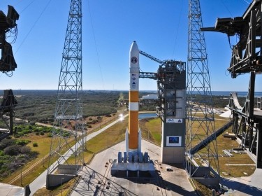 A United Launch Alliance Delta IV-Medium rocket carrying the fourth Wideband Global SATCOM satellite
