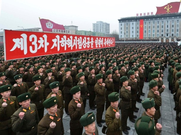 North Korean soldiers attend a rally celebrating the country's third nuclear test at the Kim Il-Sung square in Pyongyang, February 14, 2013
