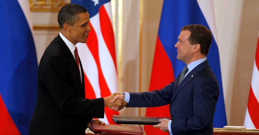 U.S. President Barack Obama and Russian President Dmitry Medvedev shake hands after signing the new Strategic Arms Reduction Treaty (START II) at Prague Castle in Prague, April 8, 2010