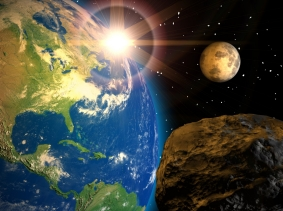 a meteorite and Earth