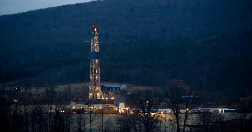 A natural gas well is drilled near Canton, in Bradford County, Pennsylvania,  January 8, 2012
