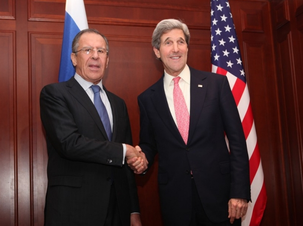 U.S. Secretary of State John Kerry shakes hands with Russian Foreign Minister Sergey Lavrov prior to their bilateral meeting in Berlin, Germany, February 26, 2013
