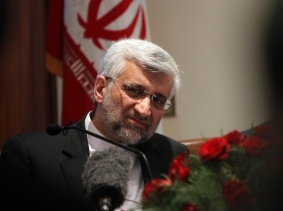 Iran's chief nuclear negotiator Saeed Jalili listens to a reporter's question during a news conference in New Delhi January 4, 2013