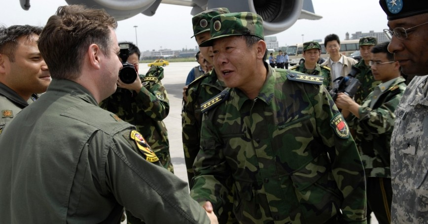 Senior members of the People's Liberation Army met the U.S. Pacific Command aircrews when they delivered relief supplies to the earthquake-stricken Sichuan province in May 2008