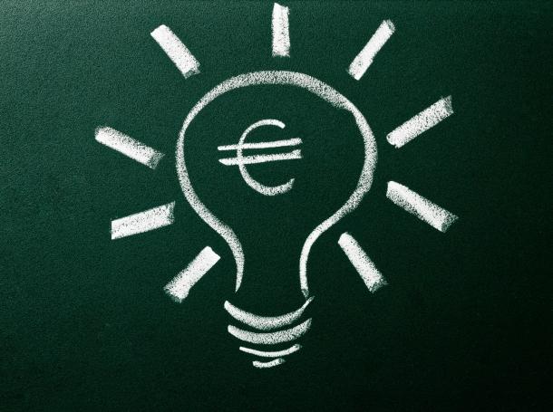 euro in lightbulb