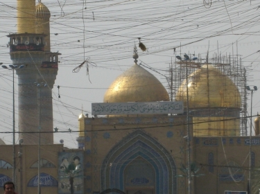 Repairs to the golden domes of Kadhimayn Mosque in 2008