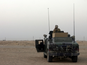 A U.S. Marine Corps vehicle on patrol in the outskirts of Fallujah.