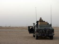 A U.S. Marine vehicle on patrol outside of Fallujah.