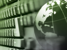 Globe and computer keyboard