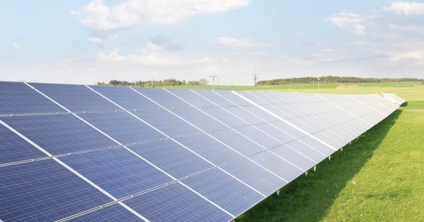 An array of solar panels.