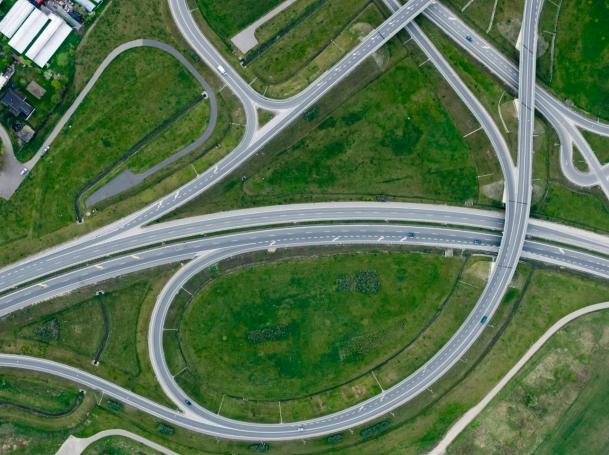 Aerial photo of highway