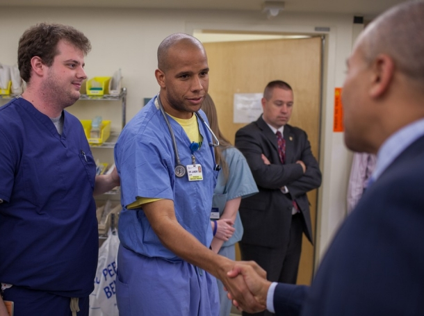 Governor Patrick visits the Beth Israel Deaconess Medical Center after the Boston Marathon bombings