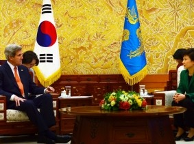 U.S. Secretary of State John Kerry meets with South Korean President Park Geun-hye