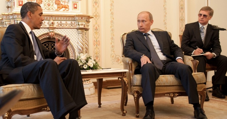 July 2009: President Barack Obama meets with Prime Minister Vladimir Putin at his dacha outside Moscow