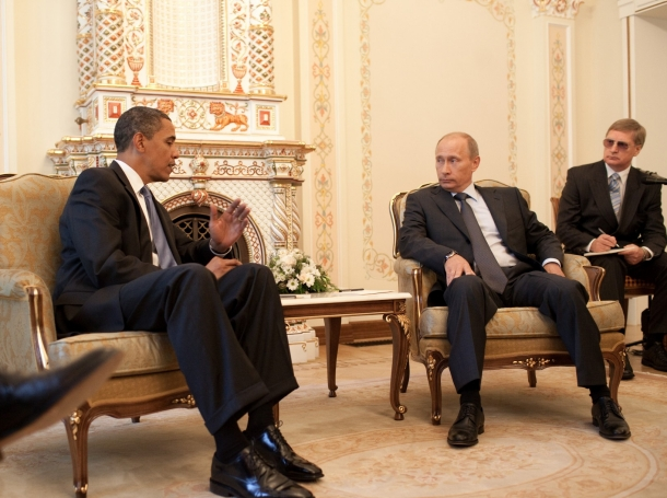 President Barack Obama meets with Prime Minister Vladimir Putin at his dacha outside Moscow, Russia, July 7, 2009.