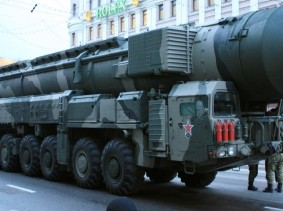 An army truck MZKT 79221 under missile Topol-M