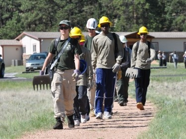 Teens working together at the Florissant Fossil Beds National Monument
