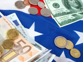 Euros and dollars on a flag