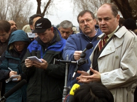 U.S. special envoy James Dobbins addresses reporters during a flag raising ceremnoy in U.S. embassy in Kabul December 17, 2001