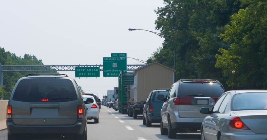 Traffic Jam Stopped Cars Pennsylvania Turnpike Exit 358 Bristol Levittown