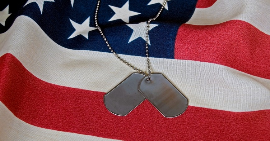 tags and American flag