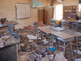 Tornado damaged classroom in the Tower Elementary School in Moore, OK