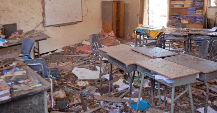 Tornado damaged classroom in the Tower Elementary School in Moore, OK