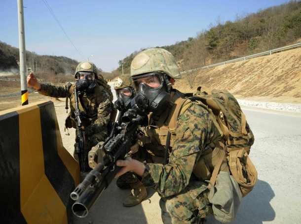Marines practicing a chemical, biological, or radiological attack