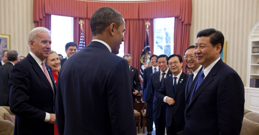 President Barack Obama and Vice President Joe Biden talk with Vice President Xi Jinping of the People's Republic of China