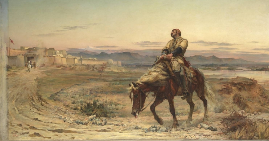'Remnants of an Army' by Elizabeth Butler portraying William Brydon arriving at the gates of Jalalabad as the only survivor of a 16,500 strong evacuation from Kabul in January 1842.