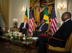 President Barack Obama and President Macky Sall of Senegal hold a bilateral meeting at the Presidential Palace in Dakar, Senegal, June 27, 2013