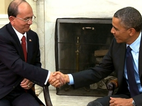President Thein Sein of Myanmar (Burma) shakes hands with President Barack Obama