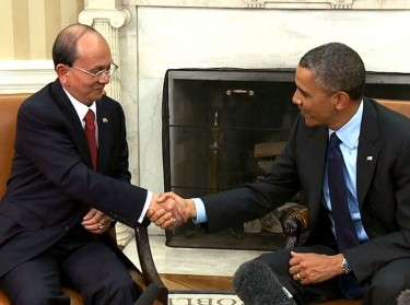 President Thein Sein of Myanmar (Burma) shakes hands with President Barack Obama