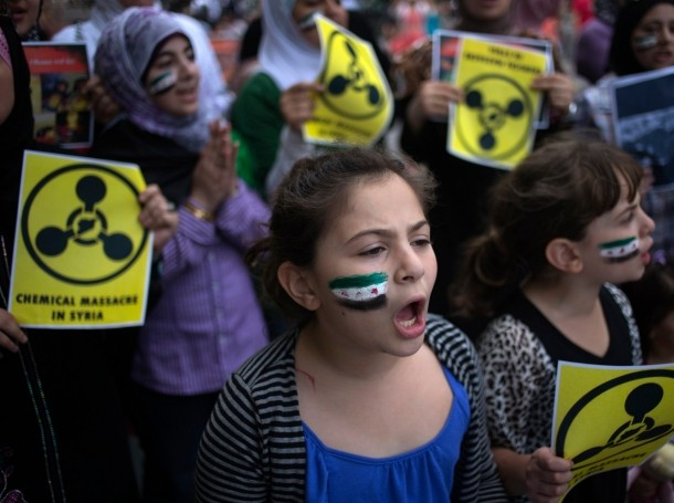 Supporters of the Coalition for a Democratic Syria gathered outside the United Nations building in New York on August 21, 2013 to protest against the alleged chemical weapons attack in Damascus
