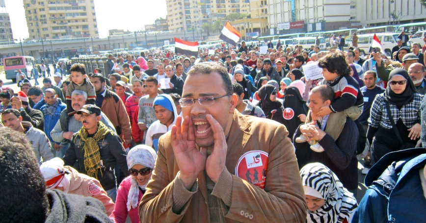 A man shouts during a protest of military rule in Egypt
