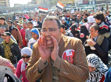 A man shouts during a protest of military rule in Egypt.
