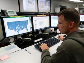 Network defender working at the Air Force Space Command Network Operations & Security Center at Peterson Air Force Base in Colorado Springs
