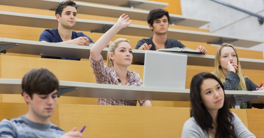 college students attending a lecture