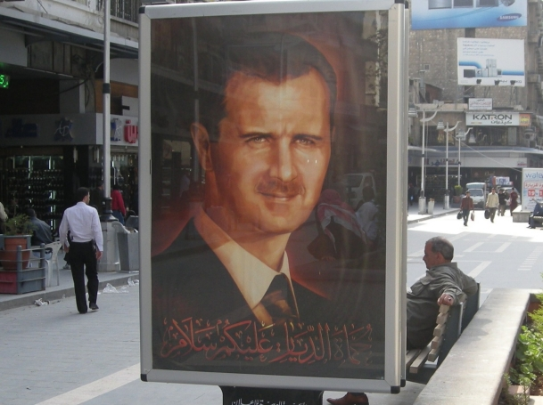 A photo of Syrian President Bashar al-Assad, in Aleppo, Syria.