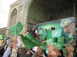 A 2009 rally in support of Mir Hussein Mousavi before he was put on house arrest.